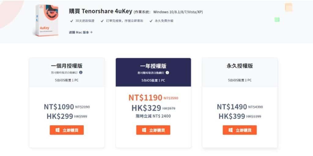 Tenorshare 4uKey 價格與優惠碼